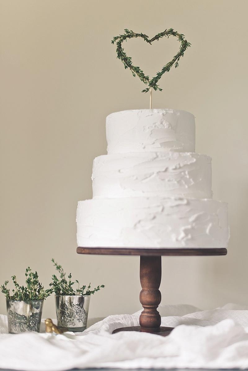 DIY heart herb wedding cake topper