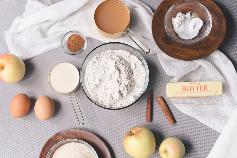 Ingredients for gluten free apple cider cake recipe