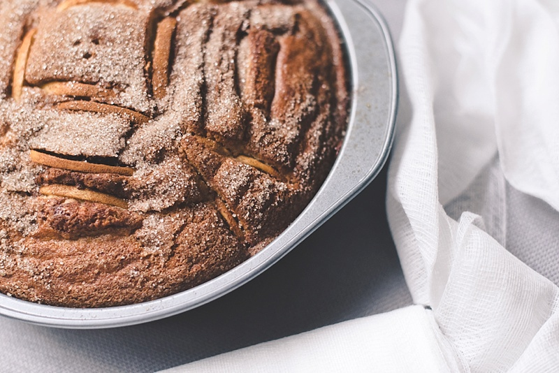 Baking an apple cider cake with local Virginia apples