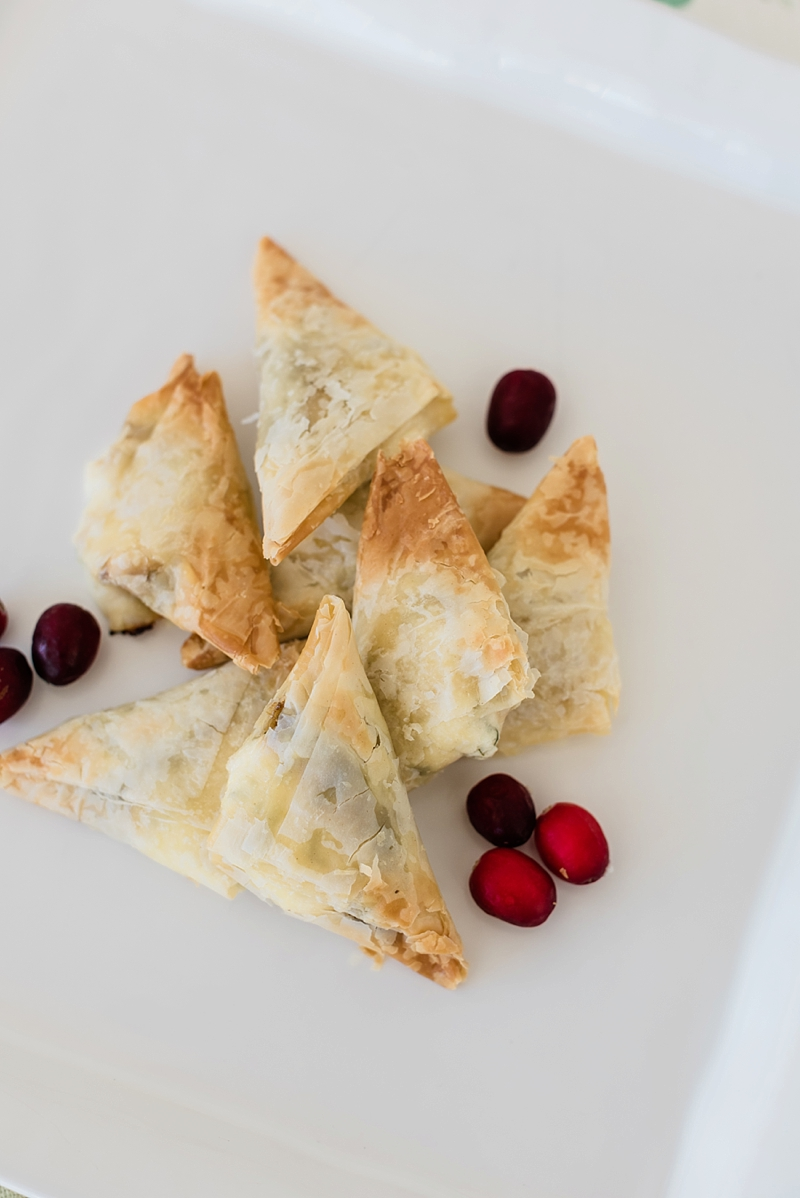 Easy phyllo appetizer made with goat cheese and cranberry relish perfect for winter weddings or Christmas dinner