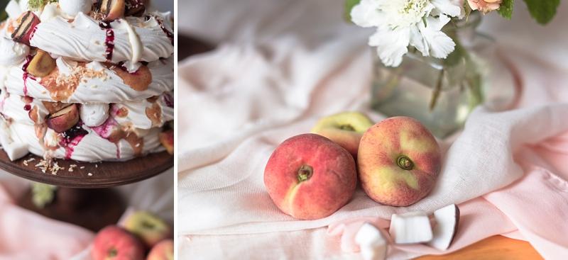 Flat white donut peaches for unique summery pavlova dessert