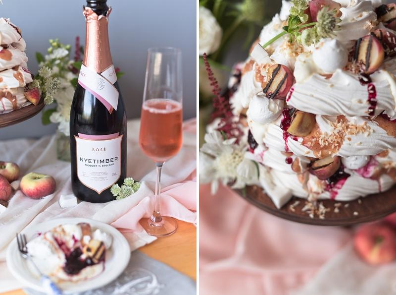 Pavlova with English sparkling rose wine Nyetimber for alternative wedding cake