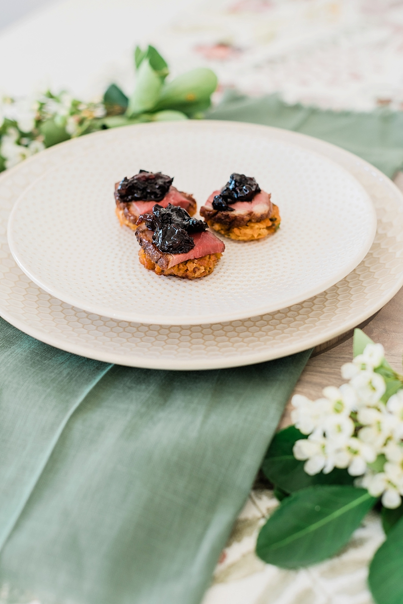 Sweet potato cake latkes made with roasted duck breast topped with cherry pear chutney for a yummy dinner appetizer