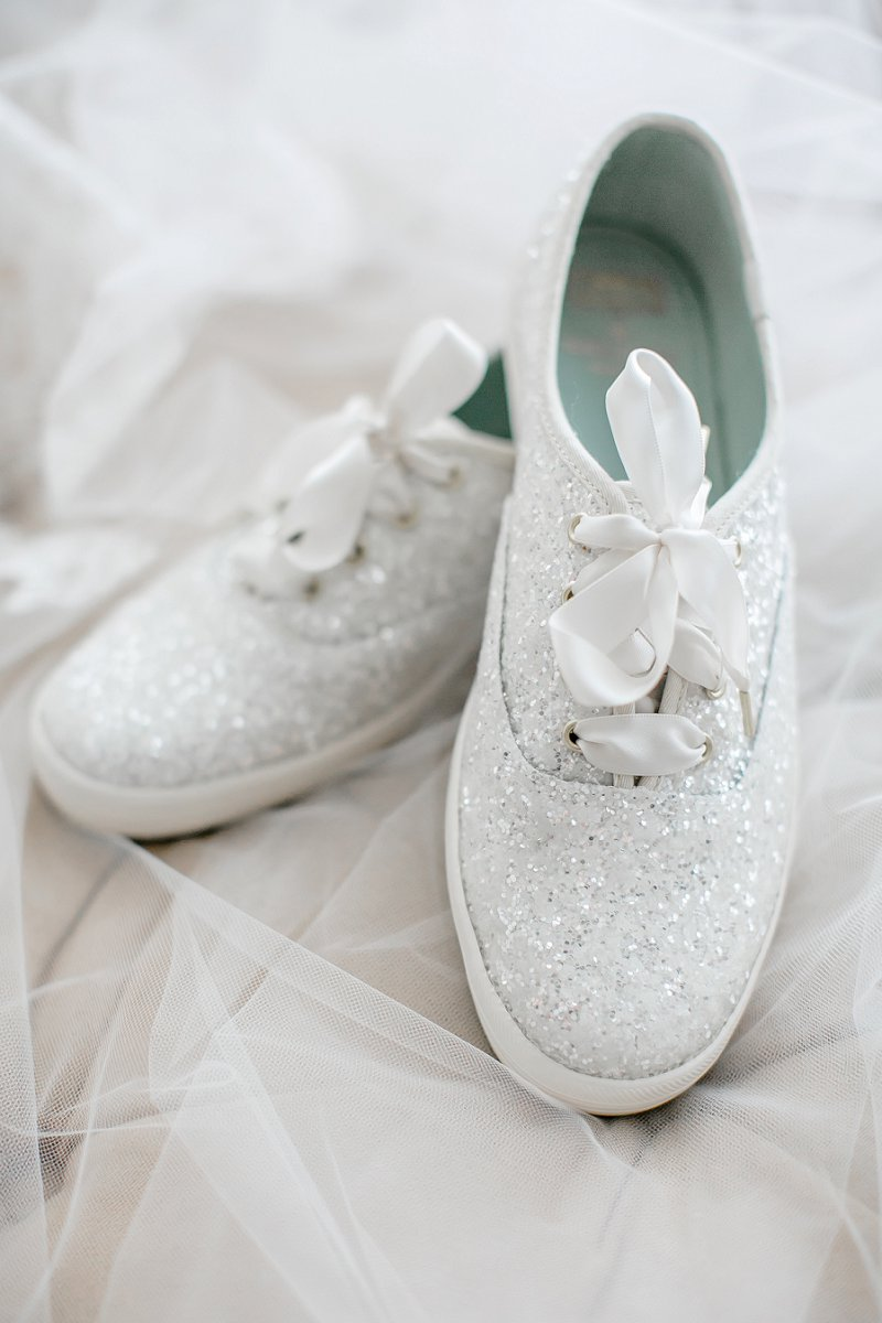 Sparkly white Kate Spade Keds for fun and comfortable bridal shoes