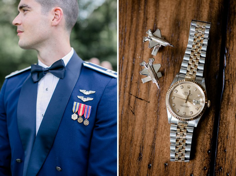 Silver Air Force airplane jet inspired cuff links for military groom in dress blues