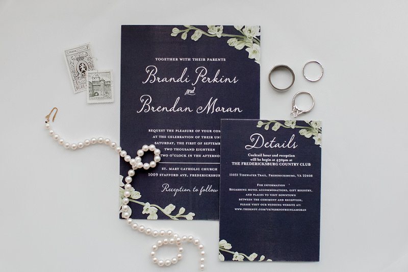 Simple white and navy blue wedding invitation suite from Shutterfly for military wedding