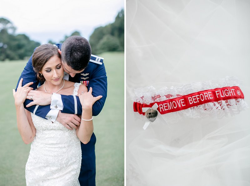 Fun red and white Air Force Remove Before Flight bridal garter for military wedding