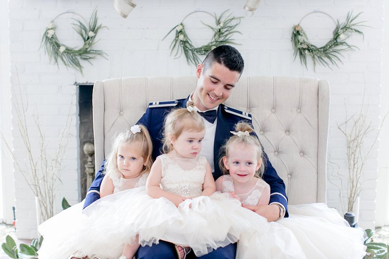 Adorable military wedding photo idea with flower girls and Air Force groom in Fredericksburg Virginia