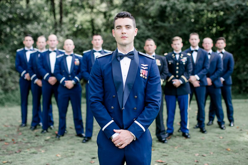 Silver Air Force airplane jet inspired cuff links for military groom in dress blues at Fredericksburg Country Club in Virginia