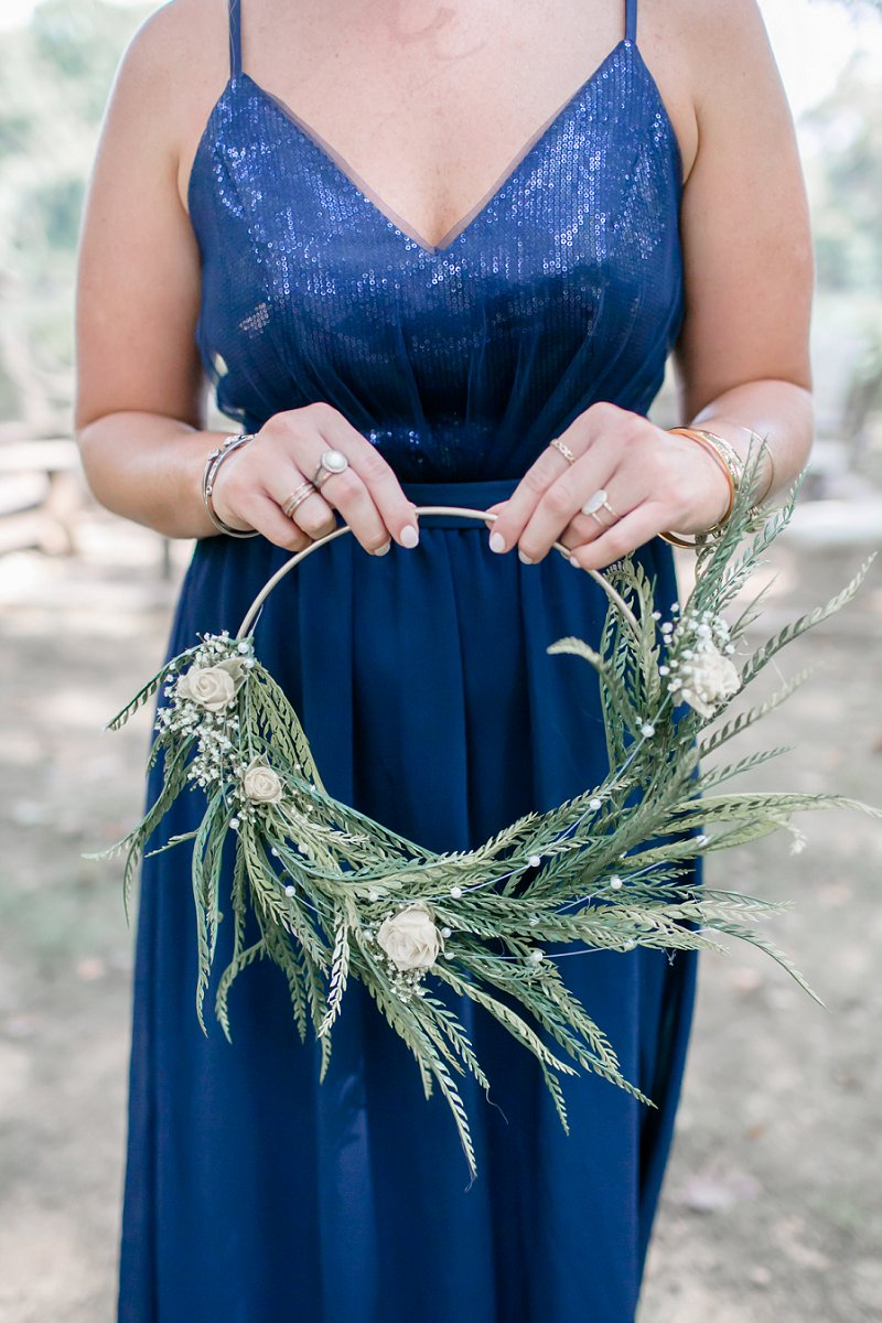 Lovely gold ring hoop bridesmaid bouquets with greenery and babys breath for unique wedding flower idea