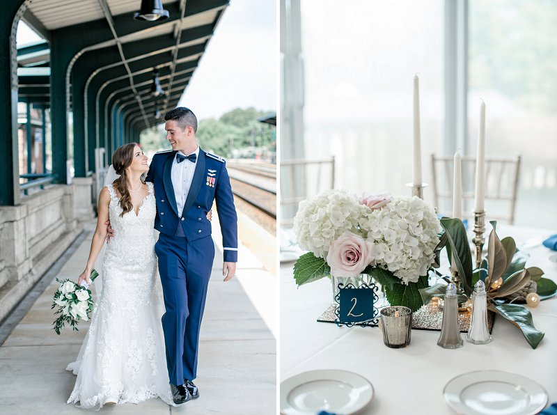 Classic navy blue and white wedding centerpiece ideas for Virginia military wedding