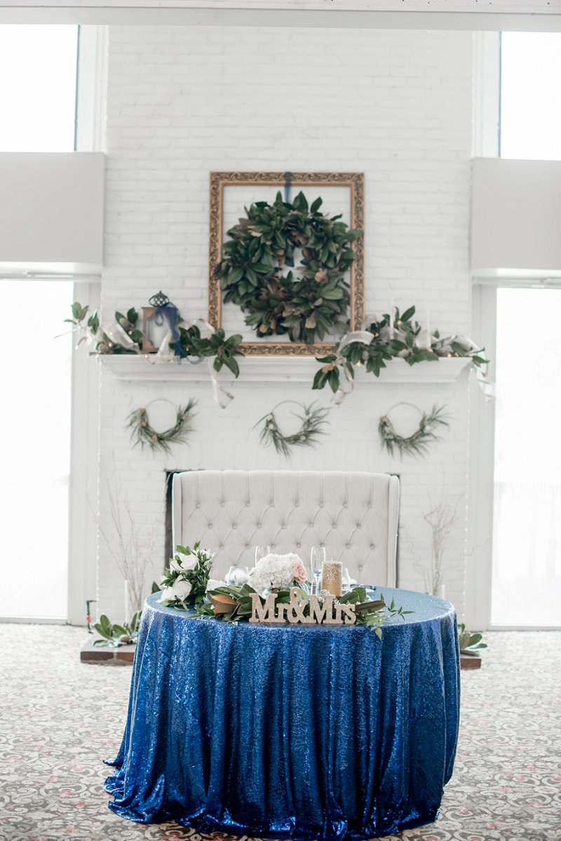 Navy blue sequin tablecloth for military wedding sweetheart table at Fredericksburg Country Club in Virginia