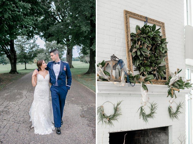 Classic navy blue and white wedding decor ideas for Virginia military wedding