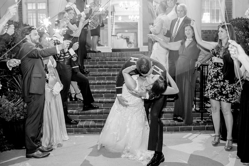 Air Force military wedding in Fredericksburg Virginia at the Fredericksburg Country Club with sparkler exit