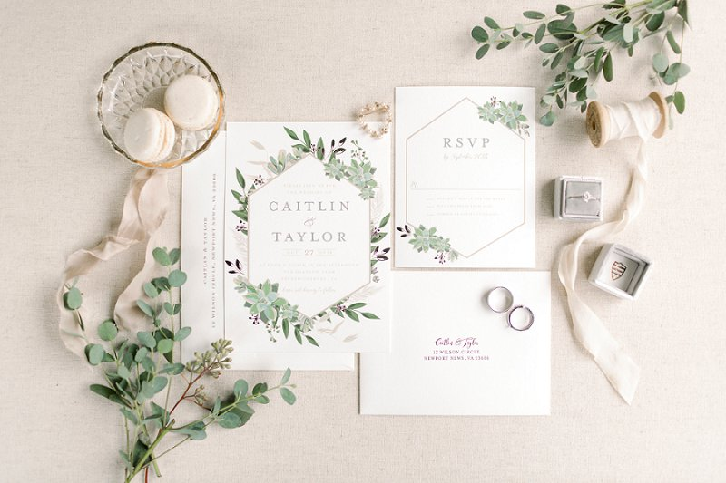 Modern rustic wedding invitation suite with gold geometric design and watercolor greenery illustrations