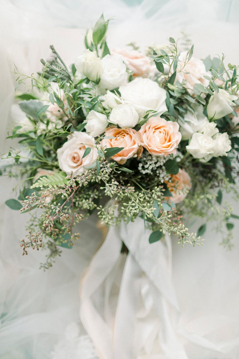 Timeless peach and white bridal bouquet for modern rustic wedding at Glasgow Farm in Fredericksburg Virginia