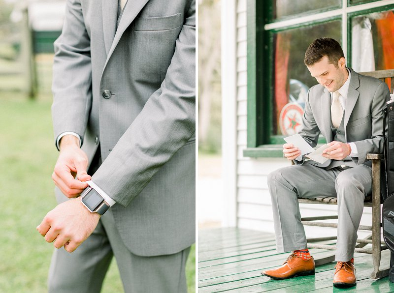 Modern rustic groom in classic light gray suit for outdoor farm wedding in Fredericksburg Virginia