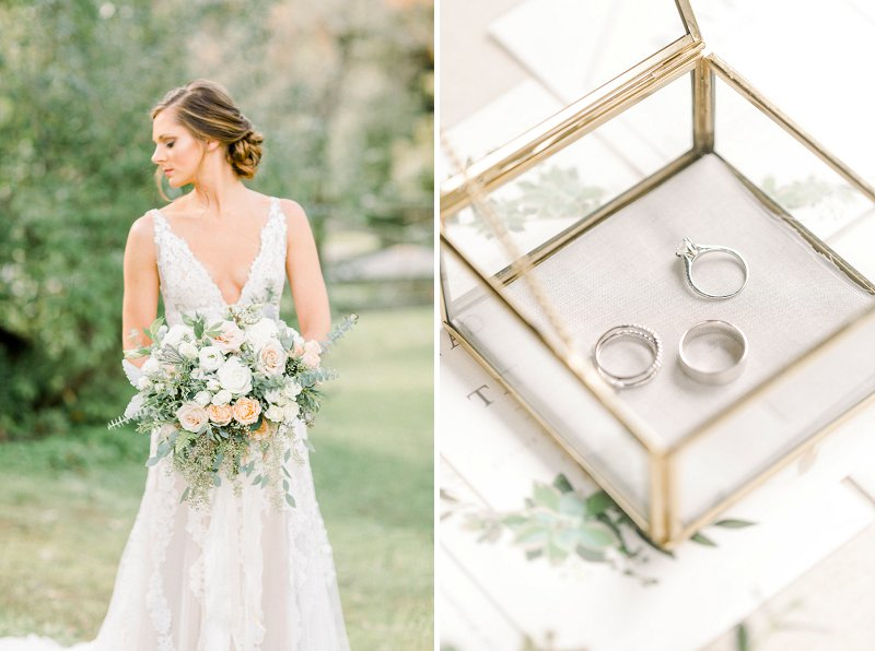 Gold and gray wedding detail ideas for a modern rustic wedding at Glasgow Farm in Fredericksburg Virginia