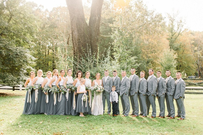 Gray and white wedding dress style ideas for bridesmaids and groomsmen for rustic outdoor wedding