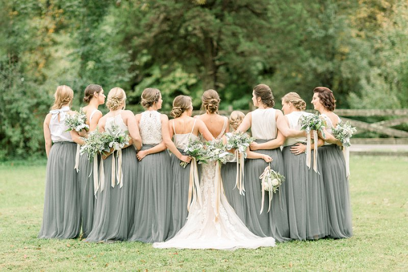 Unique bridesmaid dresses with gray skirts and white lace tops for modern rustic wedding style