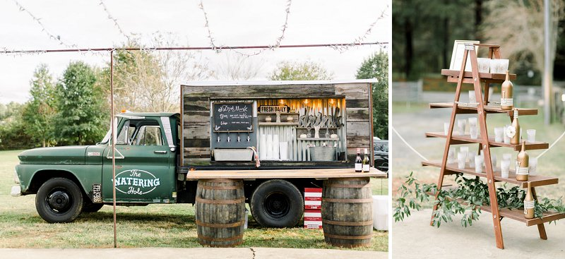 Fun rustic mobile wedding bar for Glasgow Farm outdoor wedding in Virginia