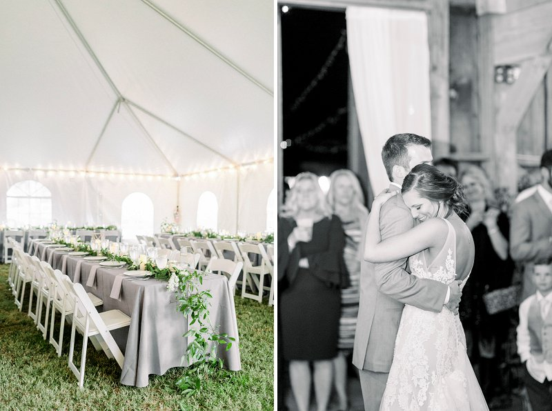 Sweet rustic wedding moment between bride and groom at Glasgow Farm in Fredericksburg Virginia