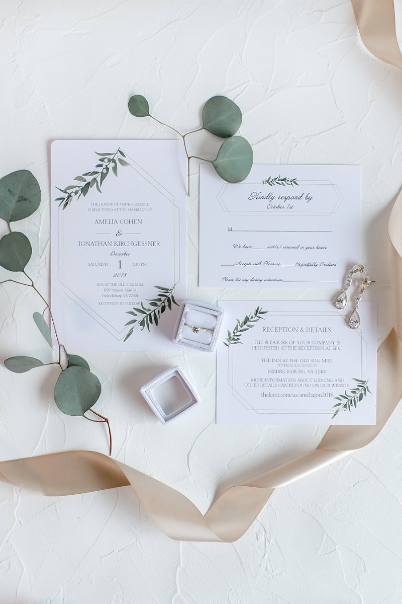 Modern classic wedding invitations with gold geometric details and watercolor greenery illustrations