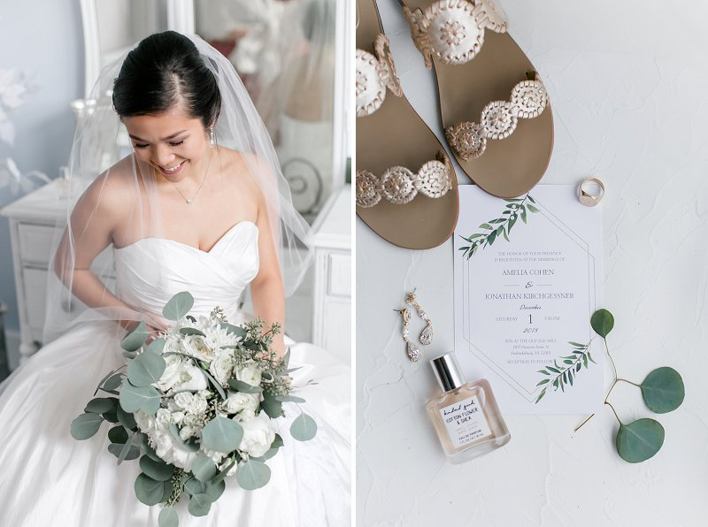 Classic bride wearing a gold bridal sandals and timeless wedding dress with a sweetheart neckline