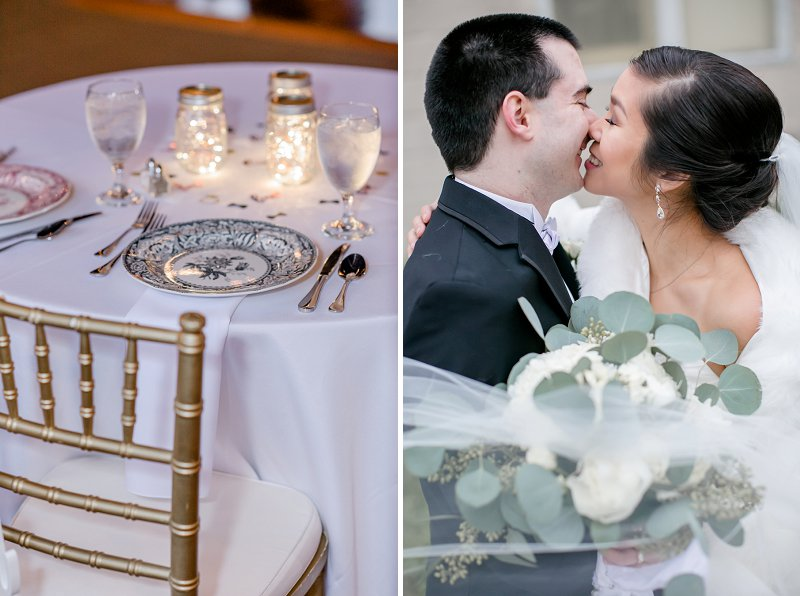 Romantic winter wedding with a bride wearing a faux fur shawl at the Old Silk Mill in Fredericksburg Virginia