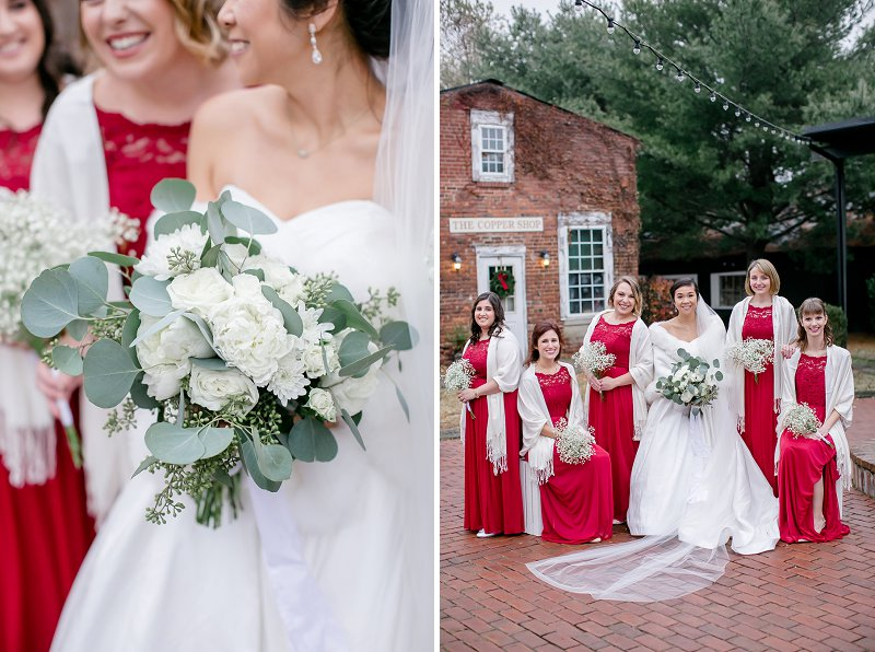 Classic bride surrounded by her bridesmaids in red dresses for a winter wedding