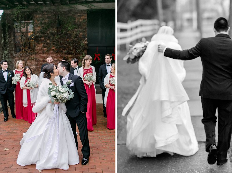 Classic wedding style for a winter wedding at Old Silk Mill in Fredericksburg Virginia