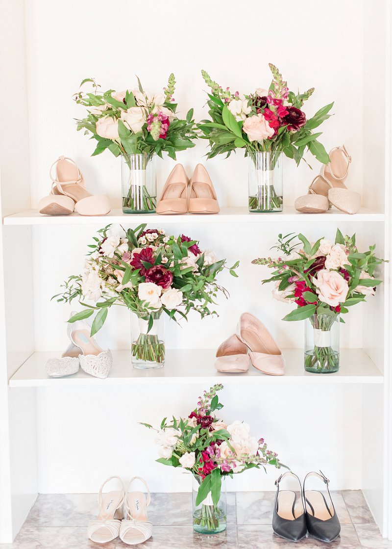 Burgundy red and white wedding bouquets for a simple winter wedding in Virginia