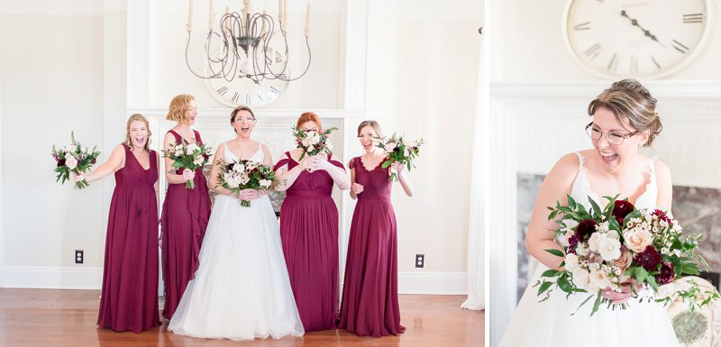 Bridesmaids in burgundy wine red dresses for a classic winter wedding in Virginia