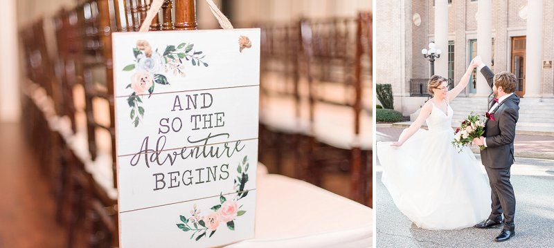 Indoor wedding ceremony sign for a pharmacist couple on Virginia Wedding Blog