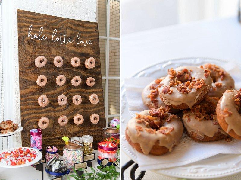 Handmade donut wall for fun alternative winter wedding dessert idea