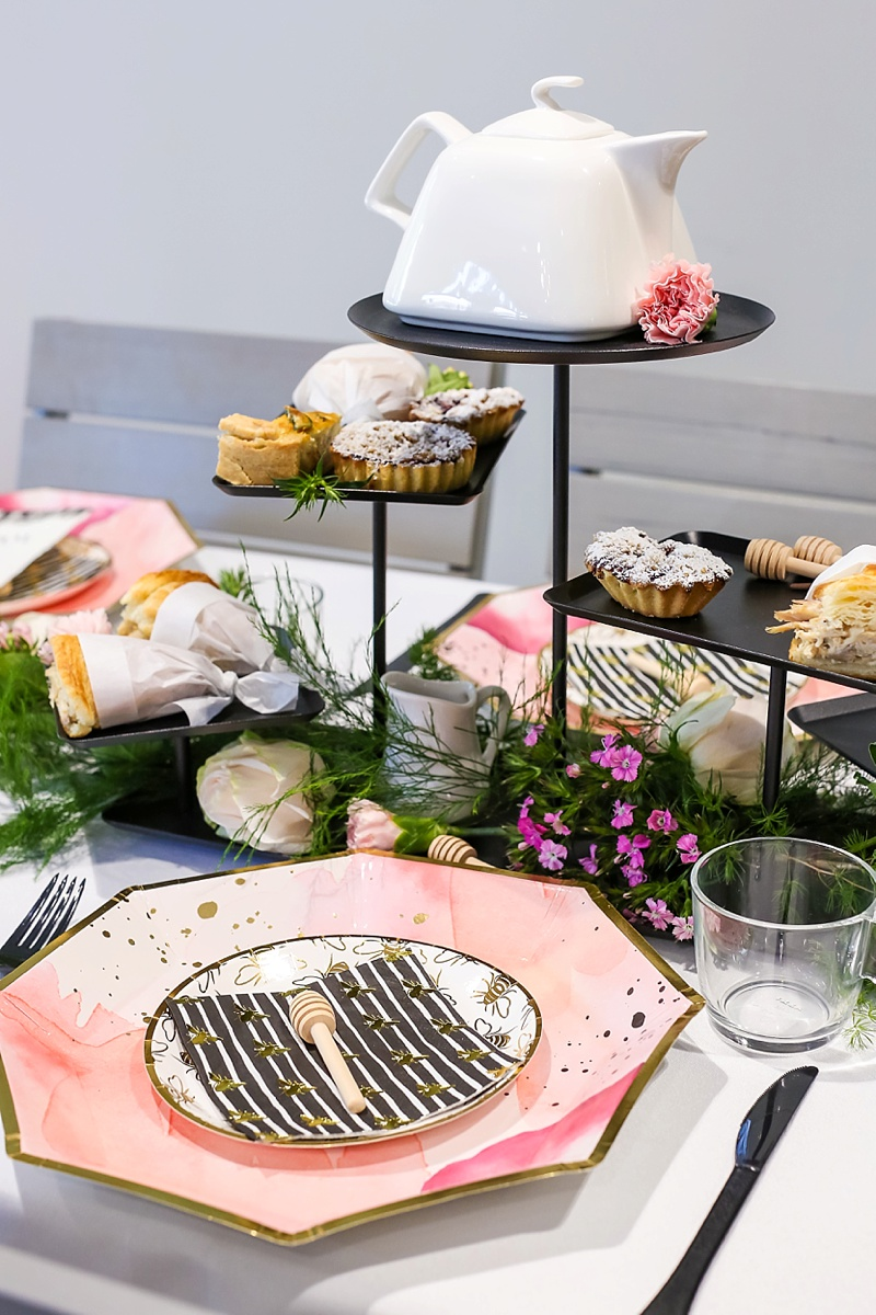 Tea inspired bridal shower with modern pink and black color palette
