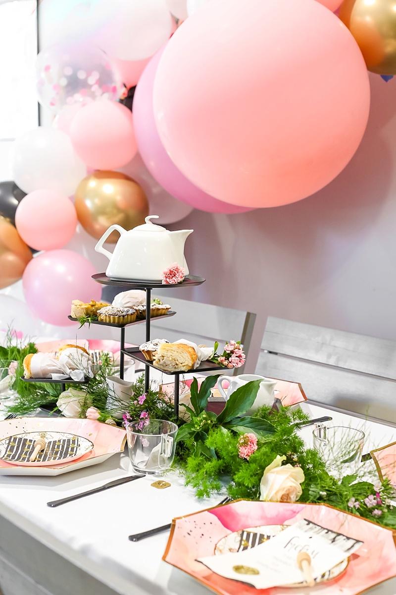 Fun pink balloon garland for chic modern tea bridal shower in Virginia Beach