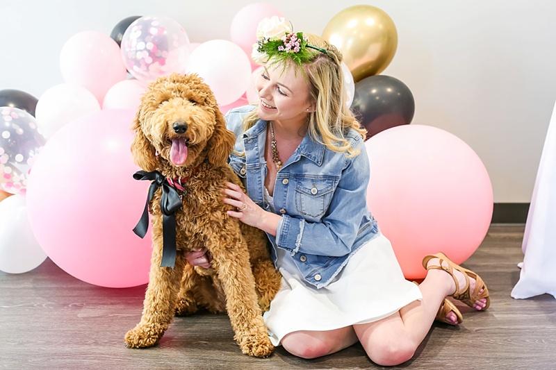 Fun pink balloon garland for chic modern bridal shower in Virginia Beach