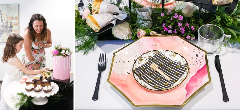 Modern bee themed paper party plates for bridal shower