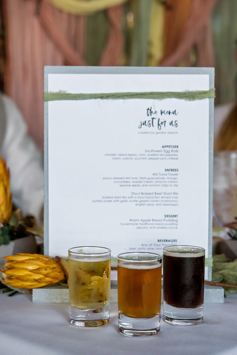 Fun on tap beer flight for a brewery wedding proposal in Virginia Beach
