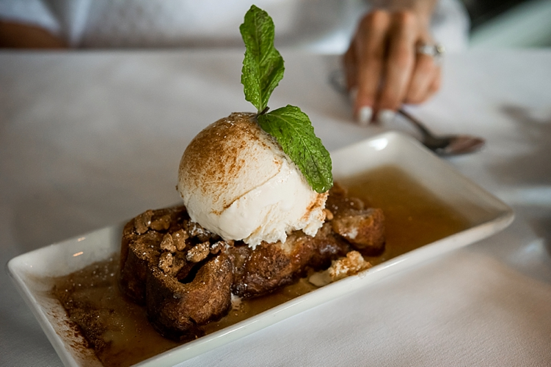 Warm apple bread pudding from Gordon Biersch for a date night dessert