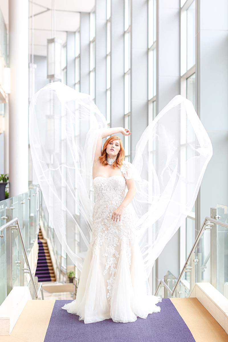 Epic and gorgeous tulle bridal cape for a dramatic wedding look