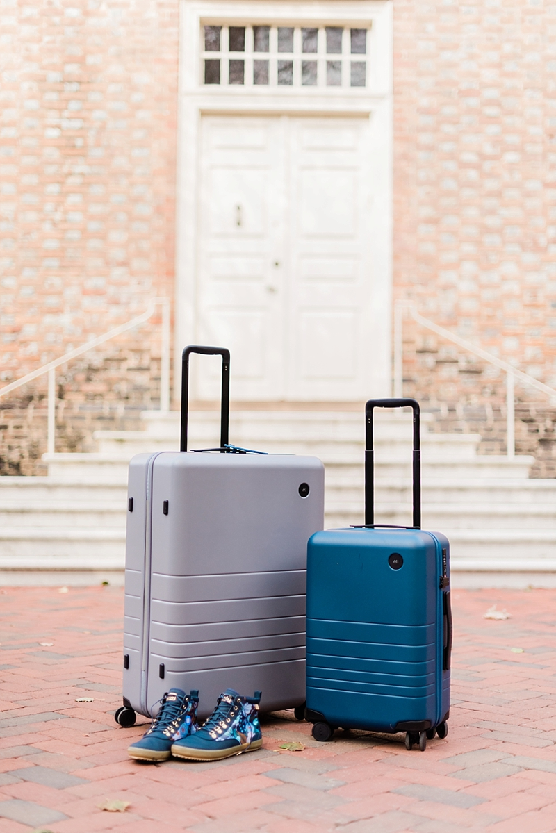 Modern travel suitcases by Monos that work well on cobblestone streets in England