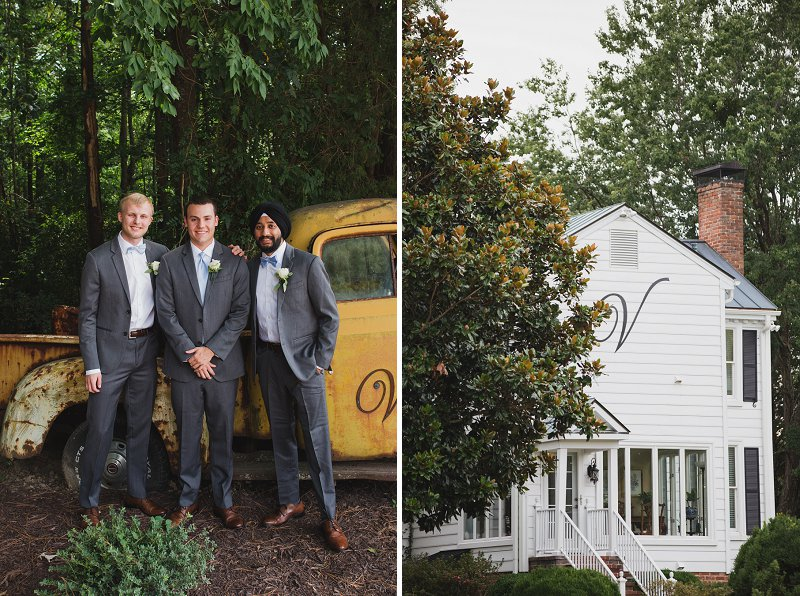 Rustic groom and groomsmen in gray suits and powder blue neckties with a rustic yellow truck