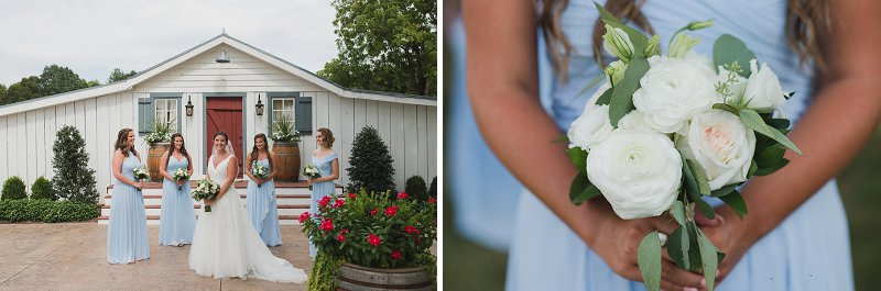 Bridesmaids in pastel powder blue dresses with white bouquets at New Kent Winery in Virginia