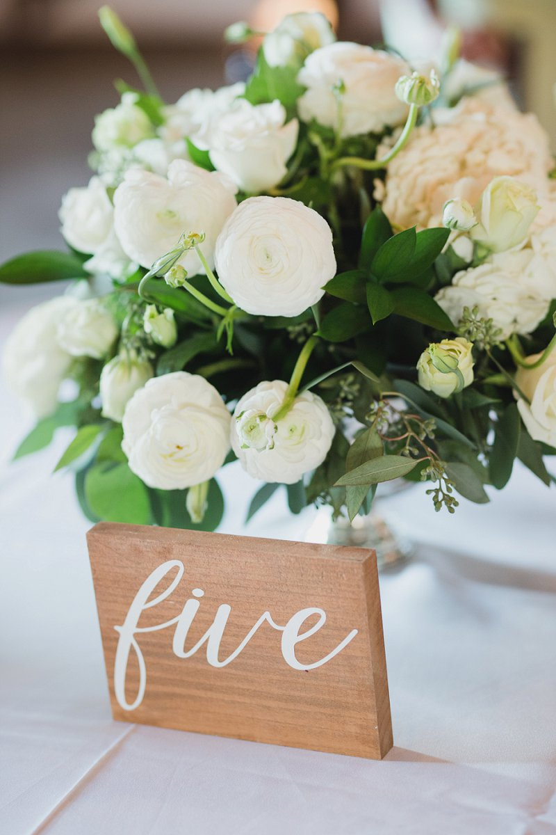 Simple homemade wood block wedding table number made with Cricut vinyl or iron on for classic wedding reception