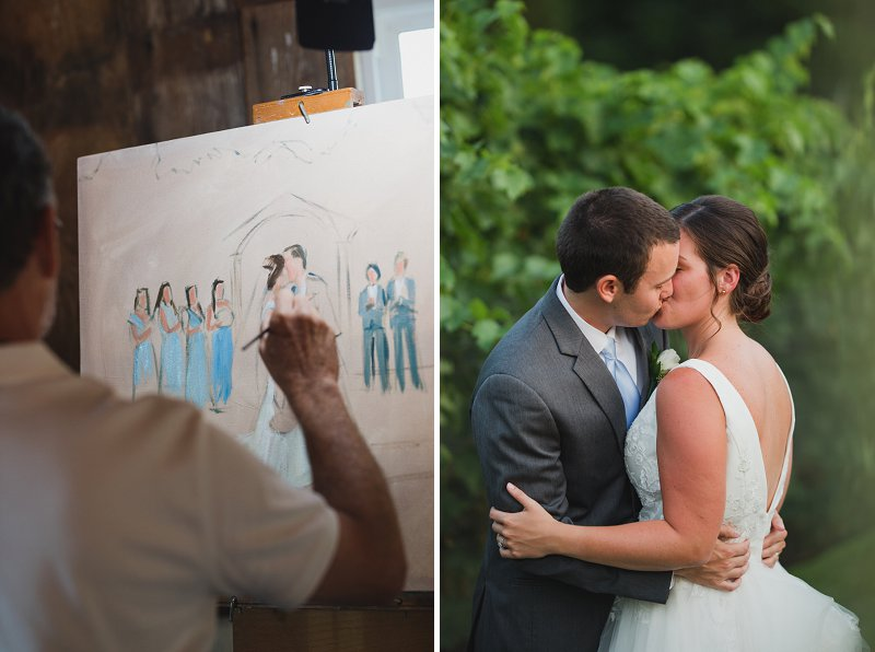 Live wedding painting by artist for unique wedding activity memory