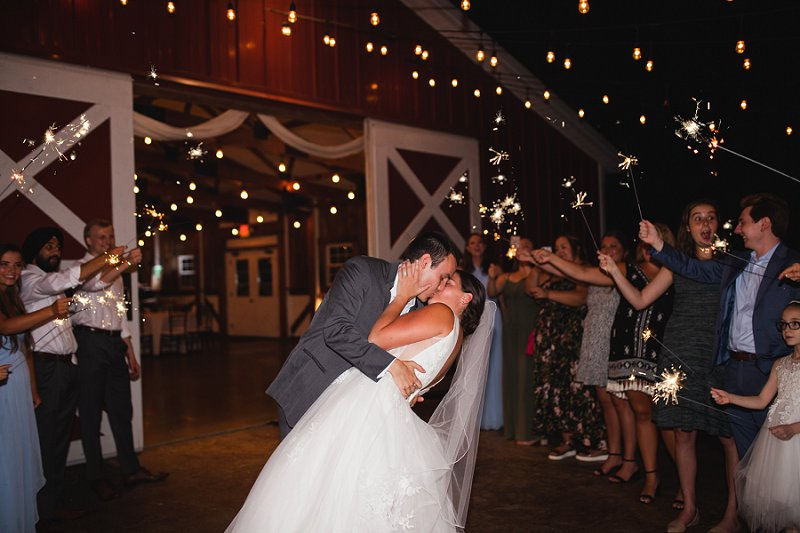 Romantic winery wedding exit with sparklers at New Kent Winery in Virginia