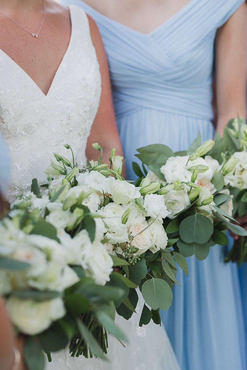All white wedding bouquets with eucalyptus for rustic wedding flowers