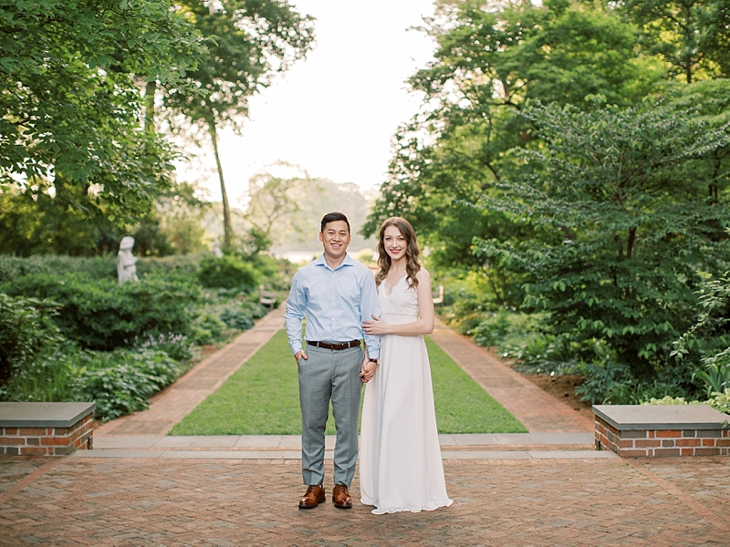 Beautiful and timeless engagement photos at the Norfolk Botanical Garden in Virginia